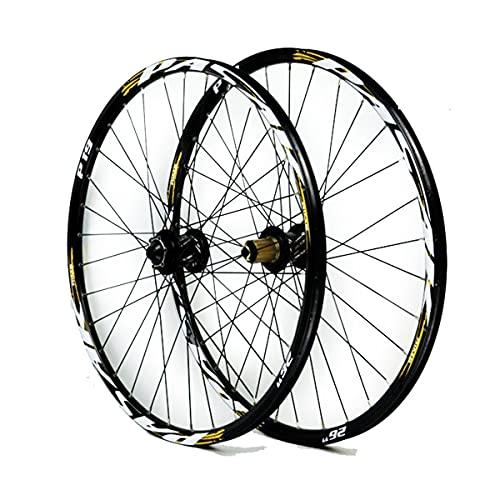 ZCXBHD Llantas de Bicicleta de Montaña, Juego de Ruedas de Bicicleta de 26 27.5 29 Pulgadas, Doble Pared, Eje Pasante, Llanta, Freno de Disco, 32 Agujeros, Velocidad 7-8-9-10-11