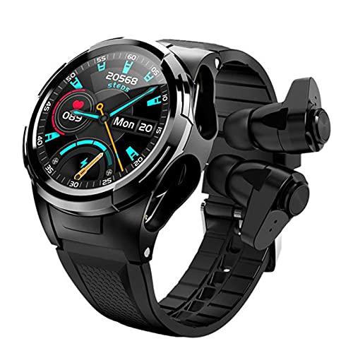 XYZK Smart Watch Hombre Auriculares Bluetooth Temperatura Termómetro Termómetro Táctil Full Touch Sports Smart Watch Pulsera,B