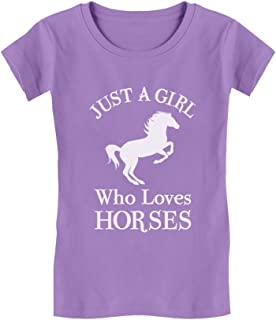 A Girl Who Loves Horses Horse Lover Gift Girls' Fitted Kids T-Shirt