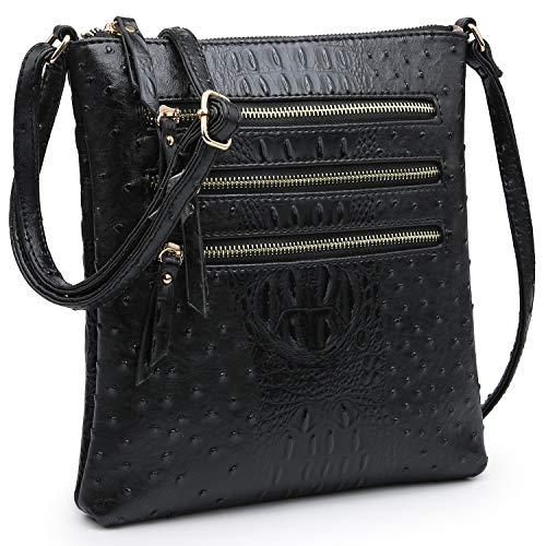 Dasein Women Functional Multi Pocket Crossbody Bag Lightweight Travel Shoulder Bag (Black)