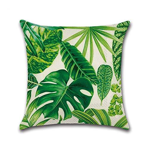 SAP- Cojín de algodón cómodo material de la hoja de la selva tropical de tela de impresión del sofá cojín 45x45cm Suave e