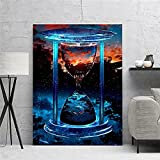 XMYC Impresión de Lienzo Time Hourglass Blue Red Dream Cool Modern Poster Prints Picture Living Wall Decor40x60cm sin Marco