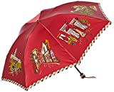 [ムーンバット] DAKS(ダックス) レディース傘 軽量 日本製 安全ロクロ 撥水 折りたたみ傘 レッド DKS婦人ミニウーリーサテンプリント イラスト柄 親骨の長さ:55cm 全長(収納時) : 約25cm 全長(使用時) : 約58cm 直径 : 約89cm 重量 : 約220g