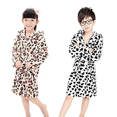 Boys Girls Neutral Thicken Winter Hooded Leopard/Cow Plush Bathrobe Nightgown