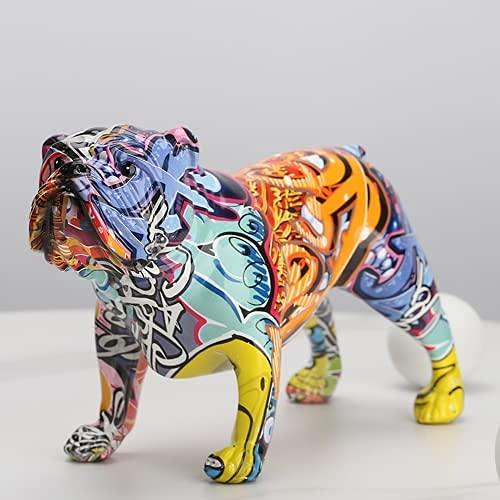 suruim Creative Colorful English Bulldog Figurines Modern Graffiti Art Home Decorations Room Bookshelf TV Cabinet Decor Animal Ornament (A)