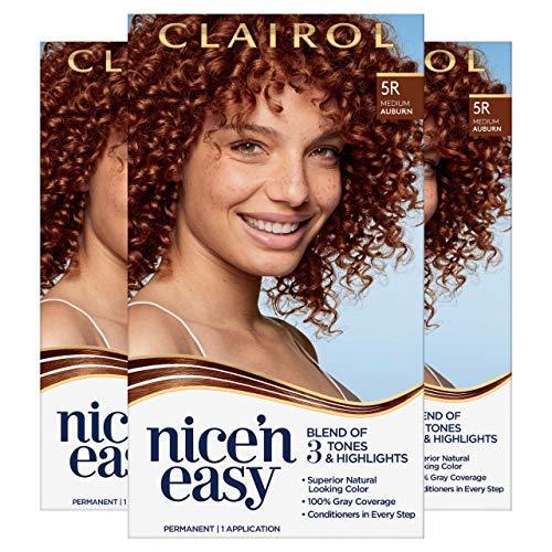 of home hair colours dec 2021 theres one clear winner Clairol Nice'n Easy Permanent Hair Dye, 5R Medium Auburn Hair Color, 3 Count