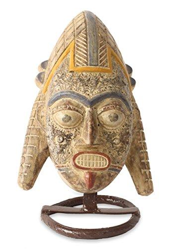NOVICA Decorative Nigerian Sese Wood Mask with Stand, Beige, Yoruba Gelada Headdress'