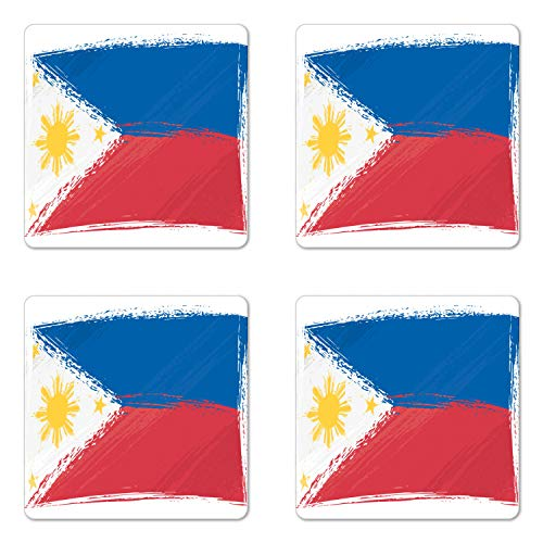 Ambesonne Filipino Coaster Set of 4, Brush Stroke Style Grungy Philippines National Flag Print, Square Hardboard Gloss Coasters for Drinks, Cobalt Blue Yellow and Red