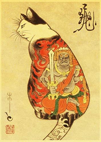 YF'PrintArt Impresiones En Lienzo Samurai Cat Tattoo Cat Poster Retro Vintage Wall Art Impreso Pintura Sala De Estar Decoración del Dormitorio Sin Marco 50X70Cm -(A741)