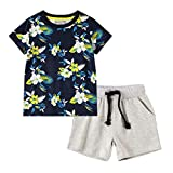FRAUIT Maglietta e Pantaloncini per Ragazzi Completo T-Shirt+ Pantaloncino Set Abbigliamento Unisex Bambini Completini e Coordinati Camicia da Ragazzo Maniche Corte per Ragazzi Estivi Casual