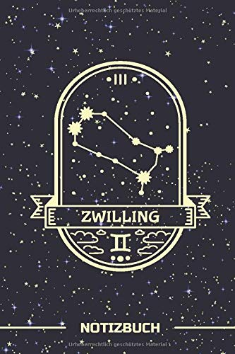 Zwilling Notizbuch: Sternbild Zwilling als Badge | Linierte 120 Seiten | A5 Format ~ 6 x 9 inch | Soft Cover | Mattes Finish