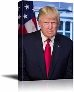 wall26 - Portrait of Donald Trump (45th President of The United States) - American Presidents Series - Canvas Wall Art Gallery Wrap Ready to Hang - 24x36 inches