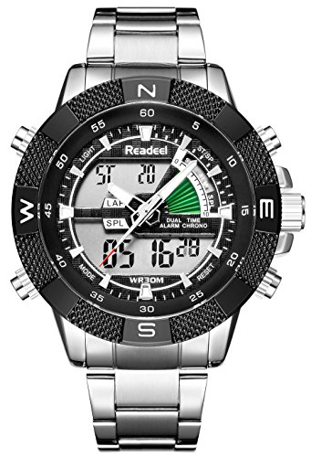 Men Watches Multi-functional Sports Analog Digital Military Wirstwatch Stainless Steel Band Big Face Stopwatch Black