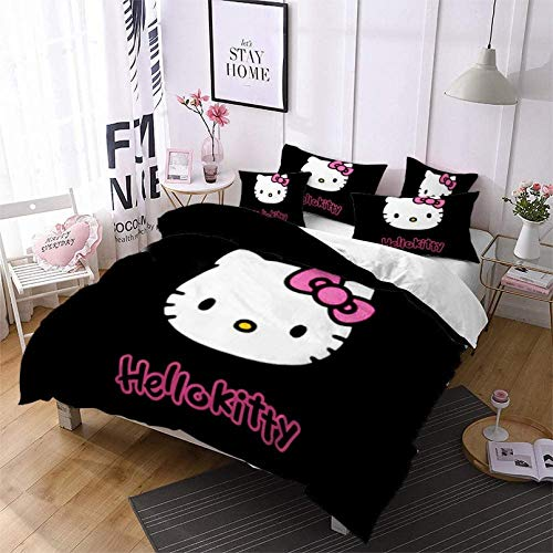 NBAOBAO Hello Kitty - Juego de funda nórdica y 2 fundas de almohada (100% microfibra, impresión...