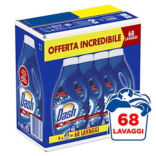 Dash Detersivo Liquido Lavatrice, 68 Lavaggi, (4 x 17), Azione Extra-Igienizzante, Maxi Formato, Rimuove le Macchie, Per tutti i Capi