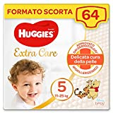 Huggies Extra Care Pannolini, Taglia 5 (11-25 Kg), Confezione da 64 Pannolini