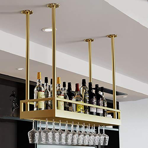 FAFZ Portavini Mensola Galleggiante Industriale Vintage Bar, Portabottiglie Vino Sospeso A Soffitto, Mensola Portabottiglie Champagne, Arredamento Casa Bar (Size : 80cm)