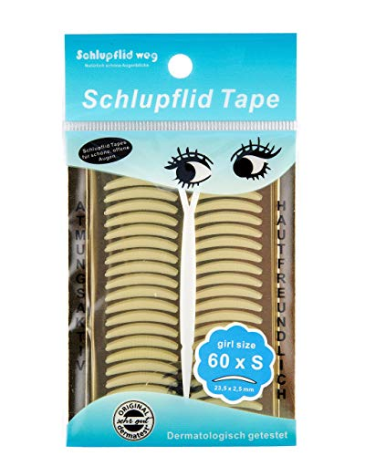 SCHLUPFLID TAPE - girl size (S) - Augenlidliftig ohne OP Schlupflid Streifen für schöne offene Augen, 60 Stück