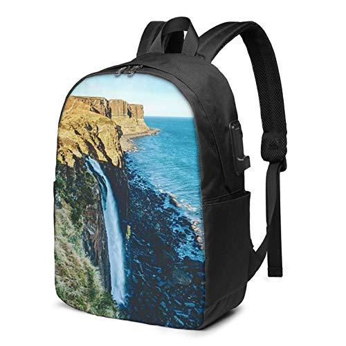 Laptop Rucksack Business Rucksack für 17 Zoll Laptop, Kilt Rock Wasserfall Winter Schulrucksack Mit USB Port für Arbeit Wandern Reisen Camping, für Herren Damen
