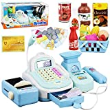 Kids Electronic Cash Register Toy Till with Working Scan, Microphone & Shopping Basket