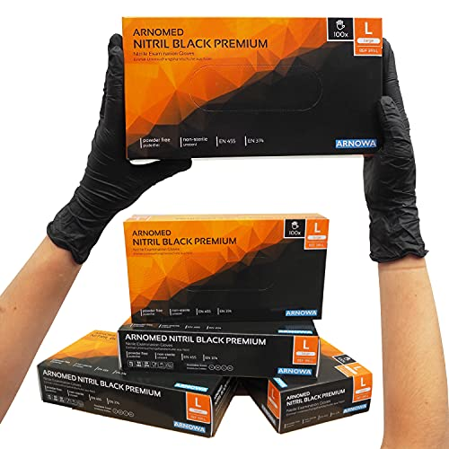 ARNOMED Einweghandschuhe Schwarz, Einmalhandschuhe L, 100 Stück/Box, puderfrei & latexfrei, Nitrilhandschuhe, Handschuhe in Gr. S, M, L & XL verfügbar
