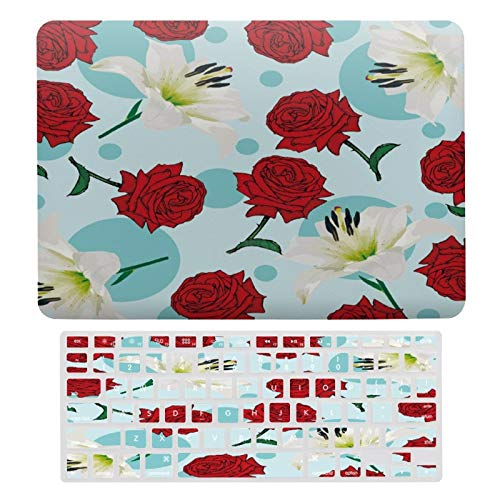 Plastic Hard Shell Case & Keyboard Cover Compatible with MacBook Air 13 inch/MacBook Air Pro 13' (Models: A1369 & A1466/ A2159/A1989/A1706), Roses Lily Bunch,
