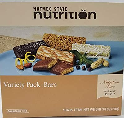 Nutmeg State Nutrition High Protein Snack Bar/Diet Bars - 10 Gram Variety Pack - Bars (7ct) - Trans Fat Free, Aspartame Free, Kosher, Gelatin Free