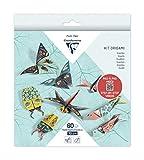 Clairefontaine 95366C - Kit origami de 60 hojas, 70 g, 10 x 10 cm, 15 x 15 cm, 20 x 20 cm, decoración insectos, 4 modelos x 5 diseños, con motivos ya colocados para facilitar el plegado