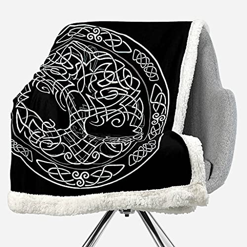 Magic Animal Reversible Sherpa Fleece Blanket All Seasons Cozy,Tree of Life Celtic Sacred Symbol Astronomy is A Magical Throw Blanket, Ultra Soft Warm Patterned Plush Blanket,Twin Size
