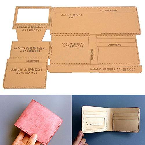 Plantilla de patrón de Billetera de acrílico Transparente Conjunto de Dibujos de Plantilla de Billetera por Herramienta de Bricolaje Artesanal de Cuero