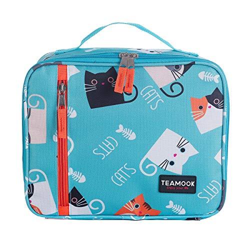 TEAMOOK Lunch Bag Borsa Pranzo con Tracolla Grande capacità Borsa Termica pasto per la a Scuola e Lavoro 5L (Gatto)