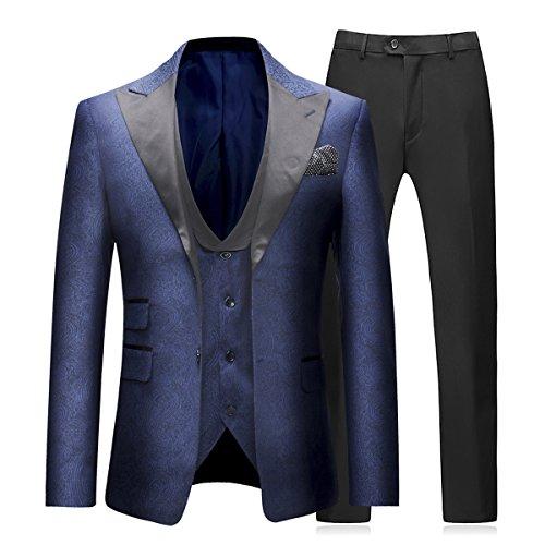 Sliktaa Trajes para Hombre 3 Piezas Slim Fit Boda Formal Traje de Cena Negro Azul Marino Vino Rojo Un botón con Muesca Solapa Esmoquin Blazer Chaqueta Chaqueta y Pantalones