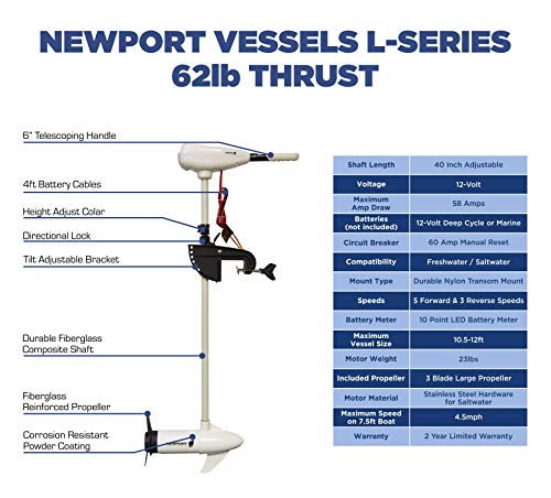 "Newport Vessels L-Series 62lb Thrust Transom Mounted Saltwater Electric Trolling Motor w/ LED Battery Indicator (40"" Shaft)"