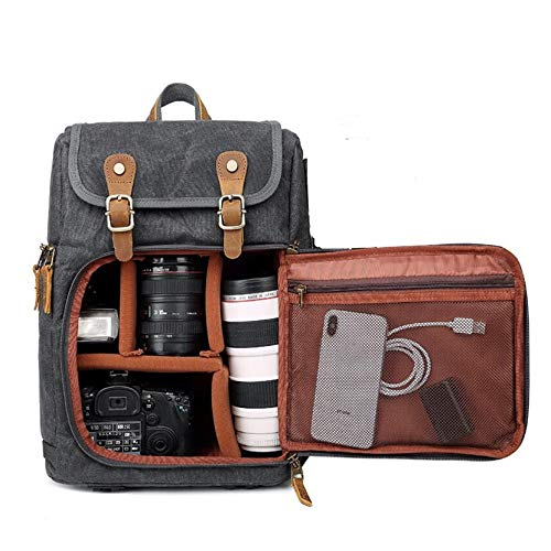 Camera Cases Travel Camera Storage Bag Waterproof Shoulder Bag 40L 600D Oxford Backpack For storing cameras (Color : Gray, Size : One size)