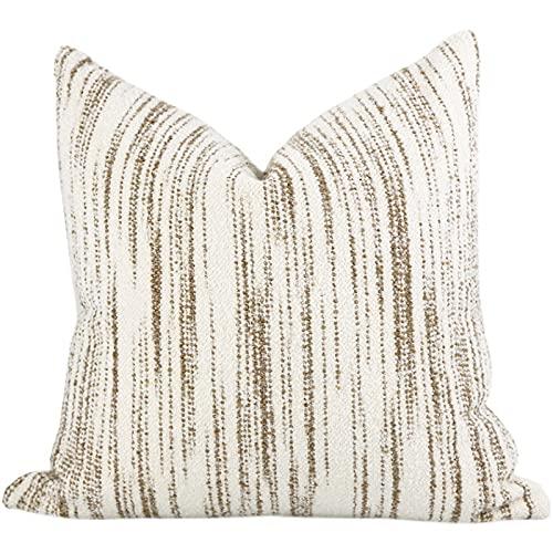 HOUMEL Cubiertas Decorativas Blancas y Marrones Cubiertas de algodón y Rayas de Lino Cajas de Almohada Suave con Relleno for Sala de Estar sofá sofá 45 cm x 45 cm 18 x 18 Pulgadas 470