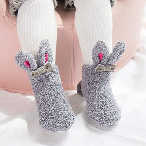 Kindersokken sokken pasgeborenen baby-karikatuur-antislip koraalrood fleece konijn-stereo baby-sokken 0-3 jaar oud S (Empfohlen 0-1 Jahre alt) grijs