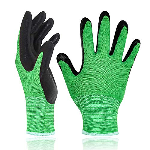 Bamboo Gardening Work Gloves for Women Youth and Men, Breathable Rubber Coated Working Gloves with Great Grip for Gardening, Fishing, Landscaping, Clamming and Construction Work, Small, Pack of 1