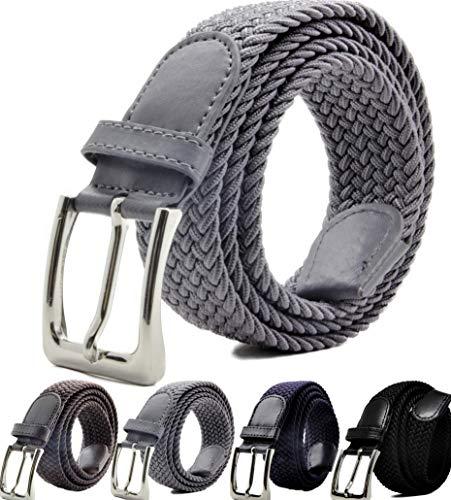 Mirabella Cintura Elastica Intrecciata per Uomo e Donna, Sacchetto Regalo, Cintura uomo, Cintura Donna, Taglie: 110cm - 115cm - Scelta di Colore e Taglie. (Grigio Scuro, 110 cm / 44-46)