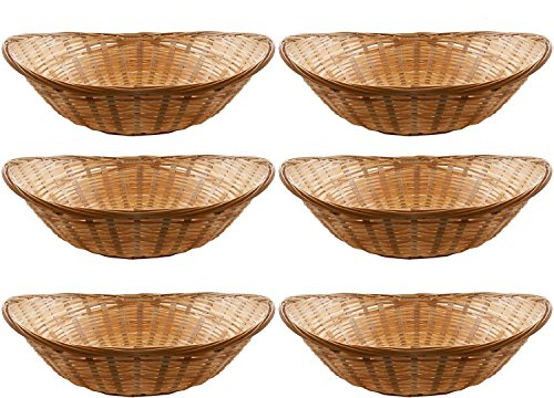 Vintage Oval Natural Bamboo Wicker Bread Basket Storage Hamper Display Trays (6 Baskets, 20cm Long)