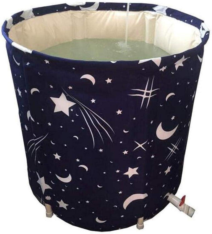 OCB BOC Folding Bathtub Bath Barrel Adult Home Folding Tub Bathtub Thickened Bath Bathtub Bathtub Navy bluee,A,65  70Cm