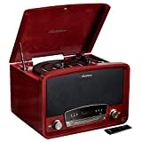 Electrohome Kingston 7-in-1 Vintage Vinyl Record Player Stereo System with 3-Speed Turntable, Bluetooth, AM/FM Radio, CD, Aux in, RCA/Headphone Out, Vinyl/CD to MP3 Recording & USB Playback (RR75C)