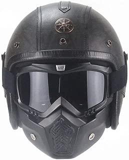 Aks Yue Retro Helmet DOT/ECE Certified Motorcycle Cruiser Making Eye Mask Personalized Helmet 3/4 Leather Half Helmet Unisex (Dark Gray)