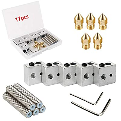 RUNCCI-YUN 5pcs 30MM Length Extruder 1.75MM Teflon Throat Tube and 5pcs 0.4MM Brass Extruder Nozzle Print Heads and 5pcs Heater Blocks Hotend for MK8 Makerbot Anet A8 3D Printer