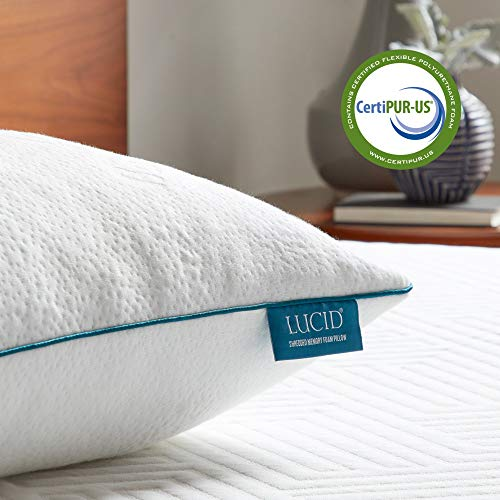 LUCID Premium Shredded Memory Foam Pillow-Hypoallergenic-Adjustable Loft-2 Pack-King