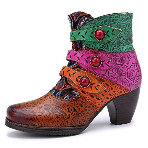 WUSIKY Geschenk für Frauen Stiefeletten Damen Bootsschuhe Boots Retro Fashion Handgenähte Piratenschnalle Passende Stiefel Lässige Stiefeletten (Braun, 37 EU)
