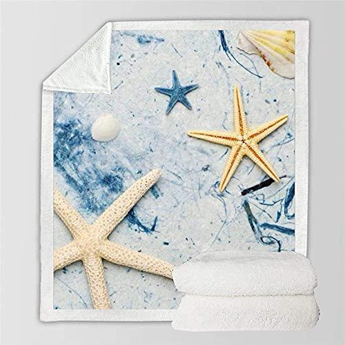 FGRSD Throw Blanket,Soft Warm Sherpa Blanket,Beach Starfish Digital Printed Quilt,Bedding Couch Blanket,Adults Office Lunch Break Blanket,Winter Sheet Plush Bedspreads Travel Warm Quilt 150×130cm