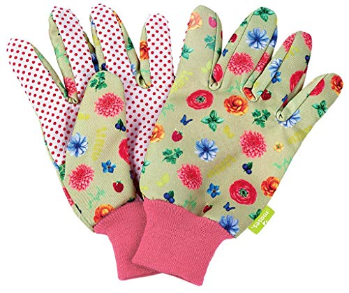 moses. Gartenhandschuhe im Blatt & Blüte Blumenprint für Erwachsene   Boden- und Pflanzhandschuhe für Arbeiten im Garten   Perfekter Schutz und Grip   (01) Paar, bunt