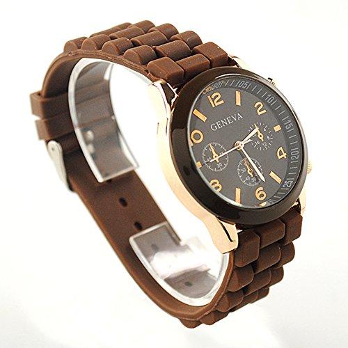 CursOnline Reloj Geneva Acero y Oro Original Hombre Mujer Elegante cómodo pulsera marrón