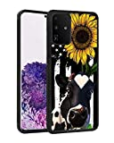 Galaxy S20 Plus Case, BWOOLL Slim Anti-Scratch TPU Rubber Protective Case Cover for Samsung Galaxy S20 Plus (2020) 6.7 inch - American Flag Sunflower and Cow