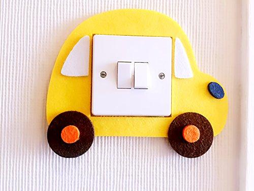 London Golden Swan Super Cute 3D Toy Car Light Switch Wall Sticker, Premium Quality Thick Felt Material, Unique On Amazon! Children Boys Girls Bedroom Nursery Room Decor! (Yellow)